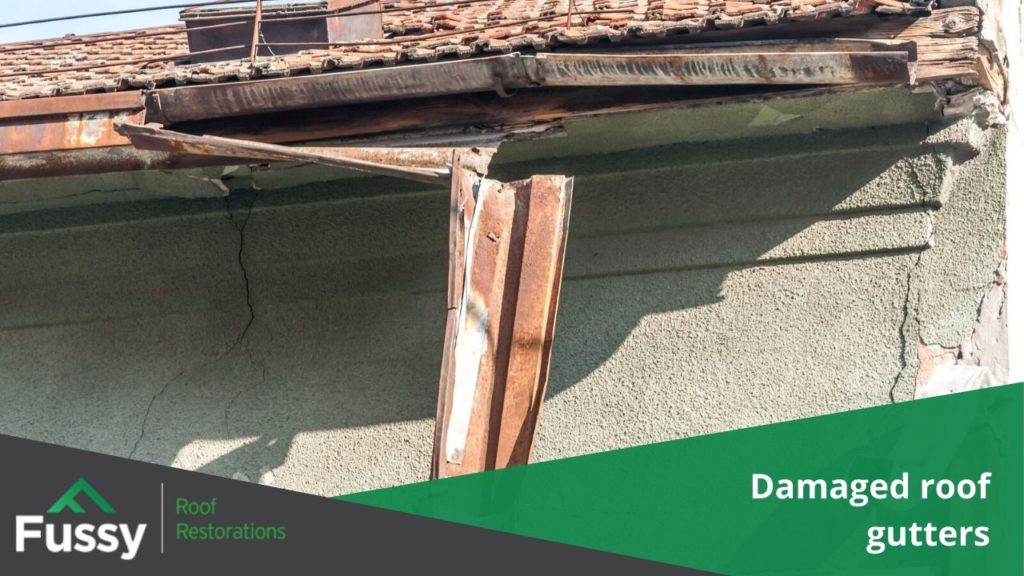 Damaged roof gutters.